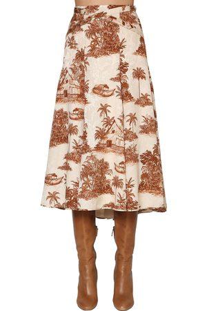 JOHANNA ORTIZ Flared Viscose Jacquard Midi Skirt