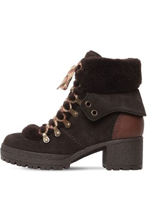 See by Chloé 40mm Eileen Suede & Fur Ankle Boots