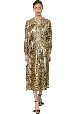 Marc Jacobs Leo Print Pleated Silk Lamé Midi Dress