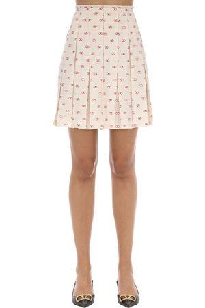 VALENTINO Vlogo Pleated Silk Crepe De Chine Skirt