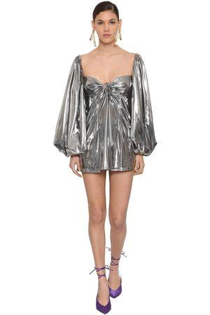 The Attico Metallic Jersey Mini Dress W/ Bow