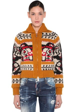 Dsquared2 Zipped Wool Knit & Mohair Sweater