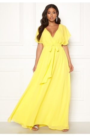 Goddiva Sleeve Chiffon Maxi Dress Soft Lemon XS (UK8)