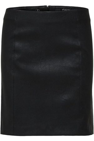 Selected Leather skirt Lamb stretch