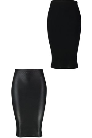 Boohoo Plus 2 Pack Leather Look + Jersey Midi Skirt