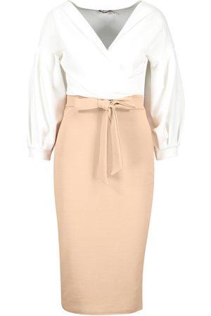 Boohoo Contrast Off Shoulder Wrap Midi Dress