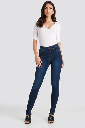 NA-KD Skinny High Waist Raw Hem Jeans Tall