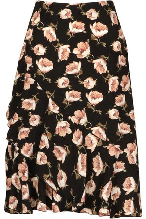 Boohoo Petite Floral Print Ruffle Midi Skirt