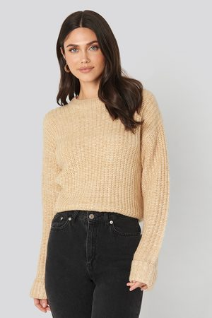 NA-KD Dame Gensere - Folded Sleeve Round Neck Knitted Sweater