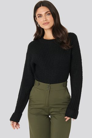 NA-KD Folded Sleeve Round Neck Knitted Sweater
