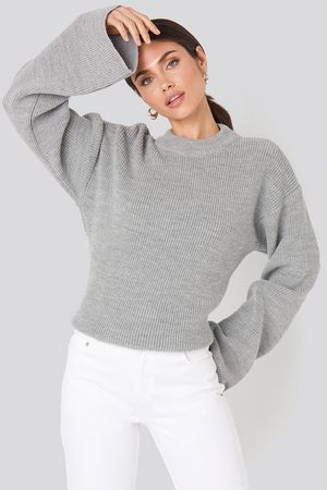 NA-KD Wide Sleeve Round Neck Knitted Sweater