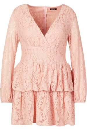 Boohoo Plus Lace Plunge Ruffle Skater Dress
