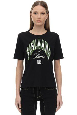 AALTO Dame Kortermede - Printed Cotton T-shirt
