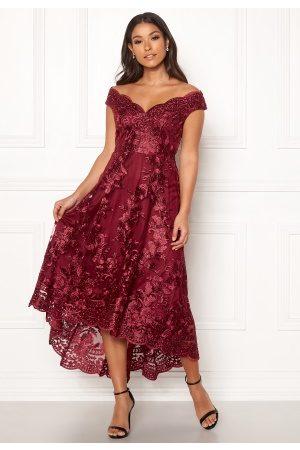 Goddiva Embroidered Lace Dress Wine XS (UK8)