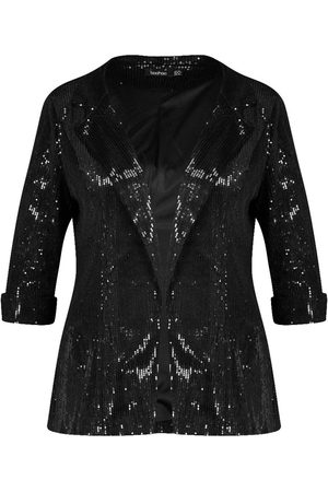 Boohoo Plus Sequin Velvet Oversized Blazer