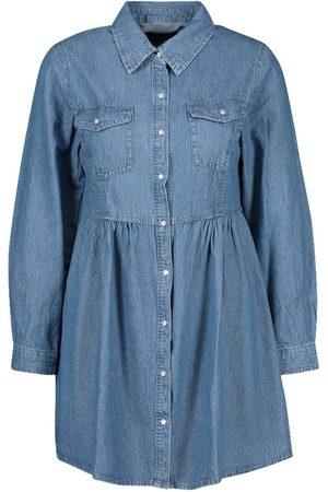 Boohoo Long Sleeve Denim Shirt Dress