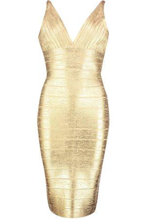 Boohoo Dame Bodycon kjoler - Boutique Plunge Wet Look Bandage Midi Dress