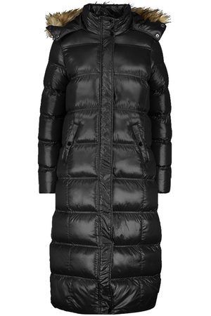 Boohoo Maxi Cire Panelled Padded Jacket With Faux Fur Trim