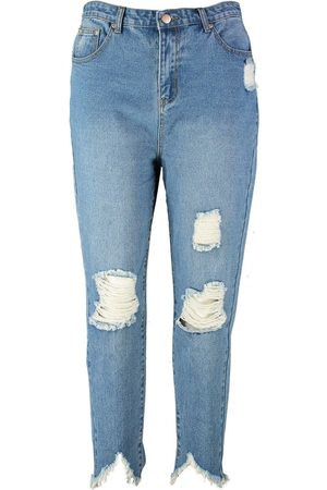 Boohoo Dame High waist - Plus Ripped Distressed High Waist Mom Jean
