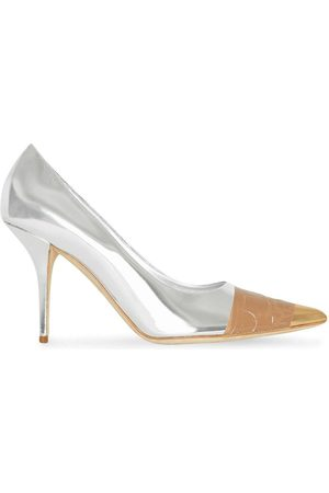 Burberry Tape detail mirrored pumps