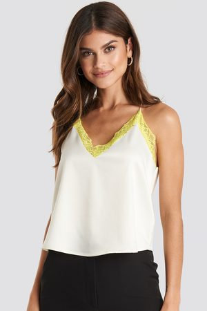 NA-KD Contrast Lace Satin Cami Top