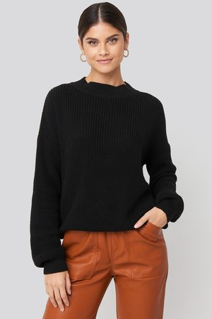 NA-KD Dame Gensere - Loose Fit Ribbed High Neck Sweater