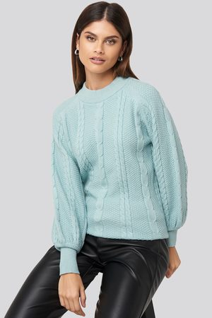 NA-KD Balloon Sleeve Cable Knitted Sweater