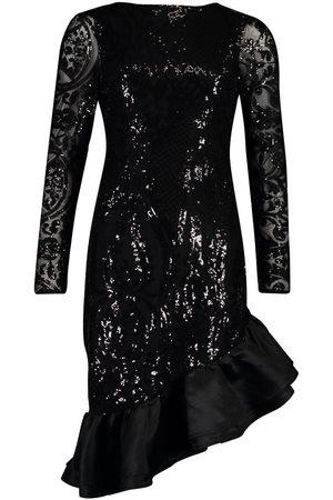 Boohoo Sequin Baroque Ruffle Mini Dress