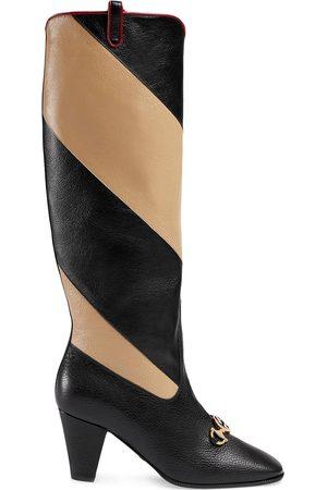Gucci Zummi GG Horsebit striped knee-high boots