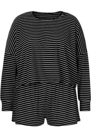 Boohoo Plus Stripe Oversize T-Shirt + Short Rib Co-ord