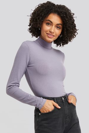 NA-KD Dame Langermede - Long Sleeve Ribbed Polo Top