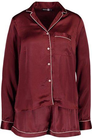 Boohoo Button Through Long Sleeve PJ Short Set
