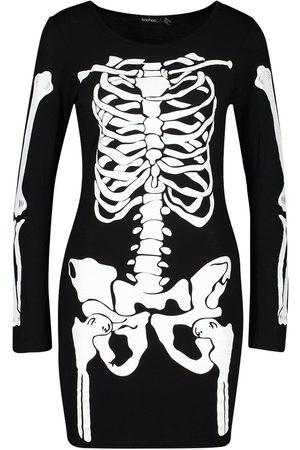 Boohoo Dame Bodycon kjoler - Petite Halloween Skeleton Long Sleeve Mini Dress