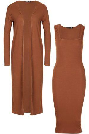 Boohoo Ribbed Midi Dress & Duster Set