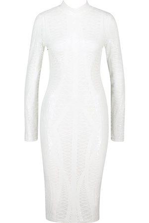 Boohoo Mesh Sequin High Neck Long Sleeve Midi Dress