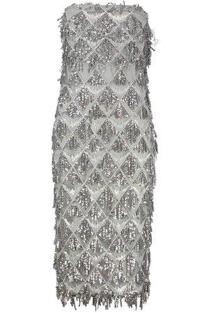 Boohoo Sequin Tassel Bandeau Midi Dress