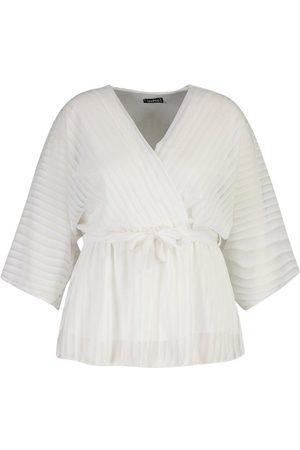 Boohoo Plus Stripe Kimono Sleeve Peplum Wrap Tie Blouse