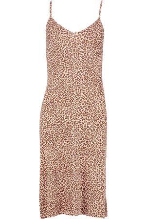 Boohoo Dame Hverdagskjoler - Leopard Print Jersey Slip Midi Dress