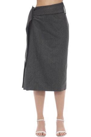Rokh Side Pleated Wool Blend Midi Skirt