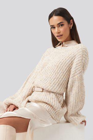 NA-KD Deep Neck Melange Sweater