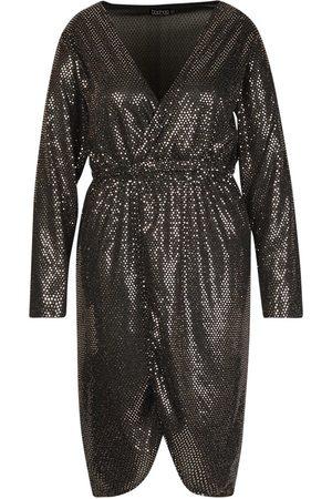 Boohoo Plus Sequin Wrap Plunge Midi Dress