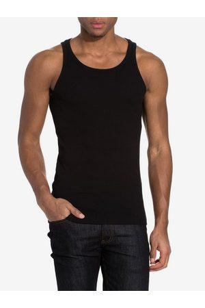 Bread & Boxers Ribbed Tank Top T-skjorter og singleter Svart