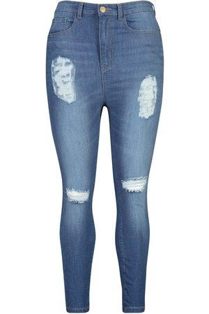 Boohoo Plus Distressed Super Stretch High Waist Skinny Jeans