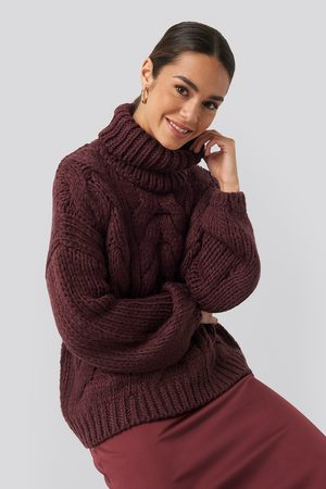NA-KD Dame Gensere - High Neck Heavy Cable Knitted Sweater