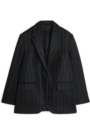 ARKET Pinstripe Melton Wool Blazer - Blue
