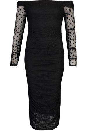 Boohoo Tall Dobby Mesh Ruched Bardot Midi Dress