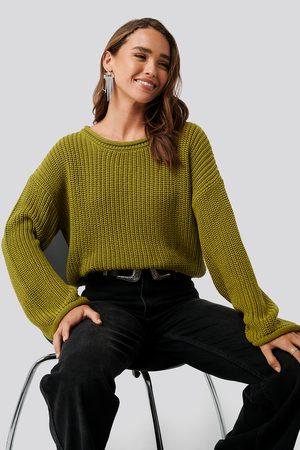 NA-KD Dame Strikkegensere - Cropped Boat Neck Knitted Sweater