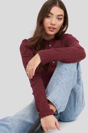 NA-KD Button Detail Long Sleeve Ribbed Top