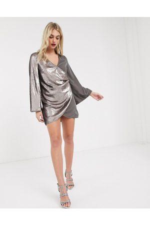 ASOS Sequin and velvet slouchy mini shift dress-Grey
