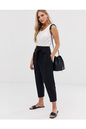 ASOS Tailored tie waist tapered ankle grazer trousers-Black